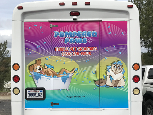 Pampered Paws Shuttle Van Wrap