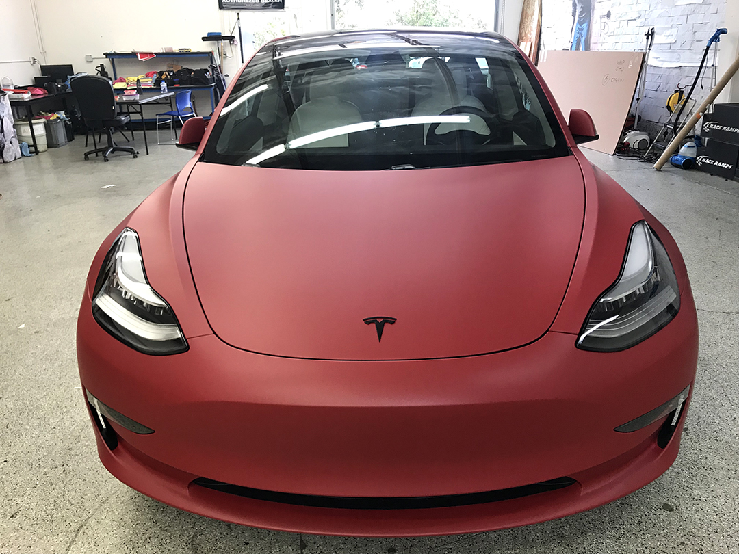 Tesla Model 3 3m Matte Red Wrap City San Diego Vehicle